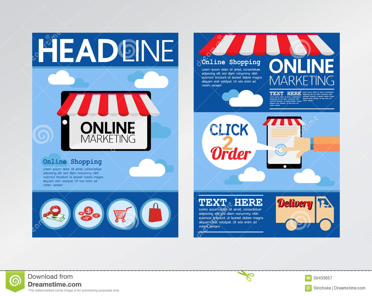 marketing brochure template - e commerce online marketing magazine cover flyer stock
