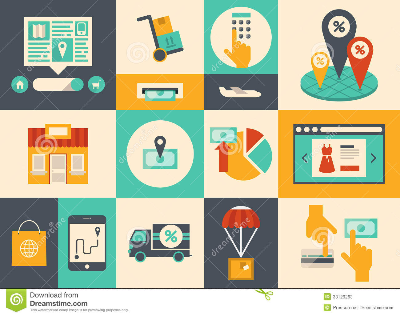 E-commerce And Online Shopping Icons Stock Vector
