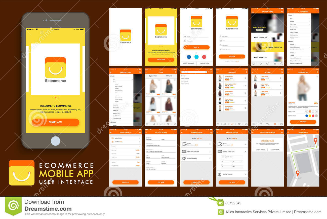 E-Commerce, Online Shopping UI, UX And GUI Template Layout