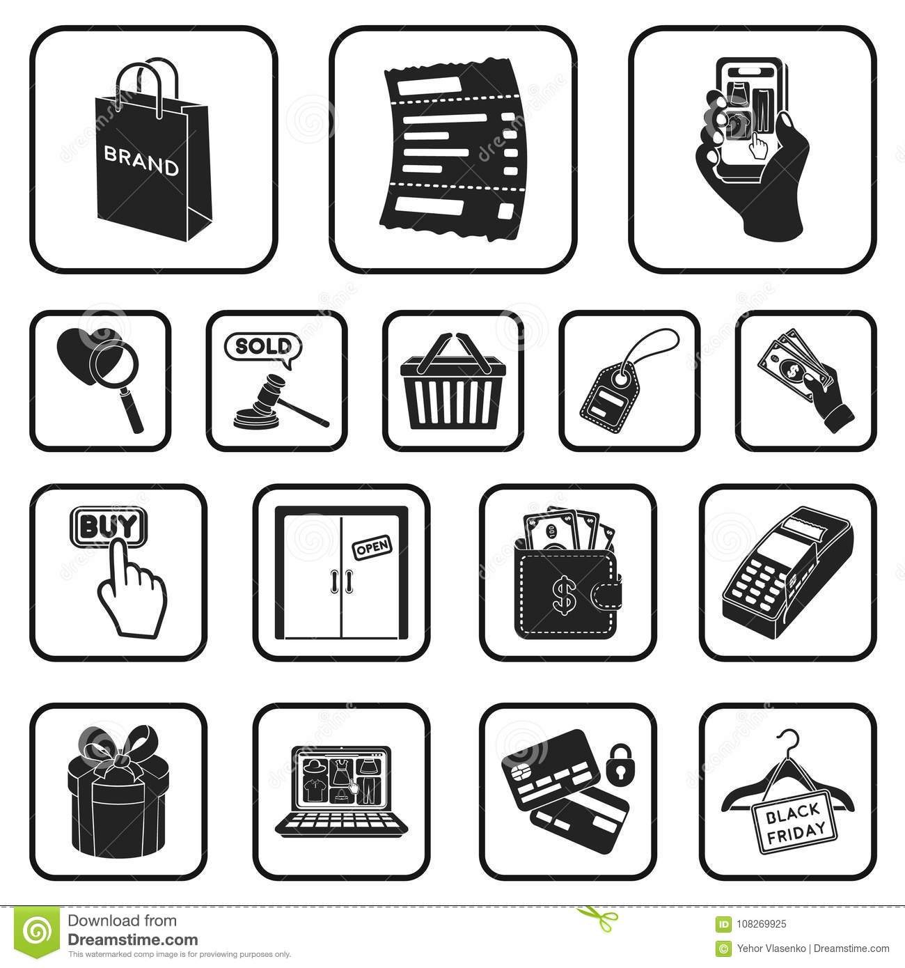 e commerce purchase and sale black icons in set collection for