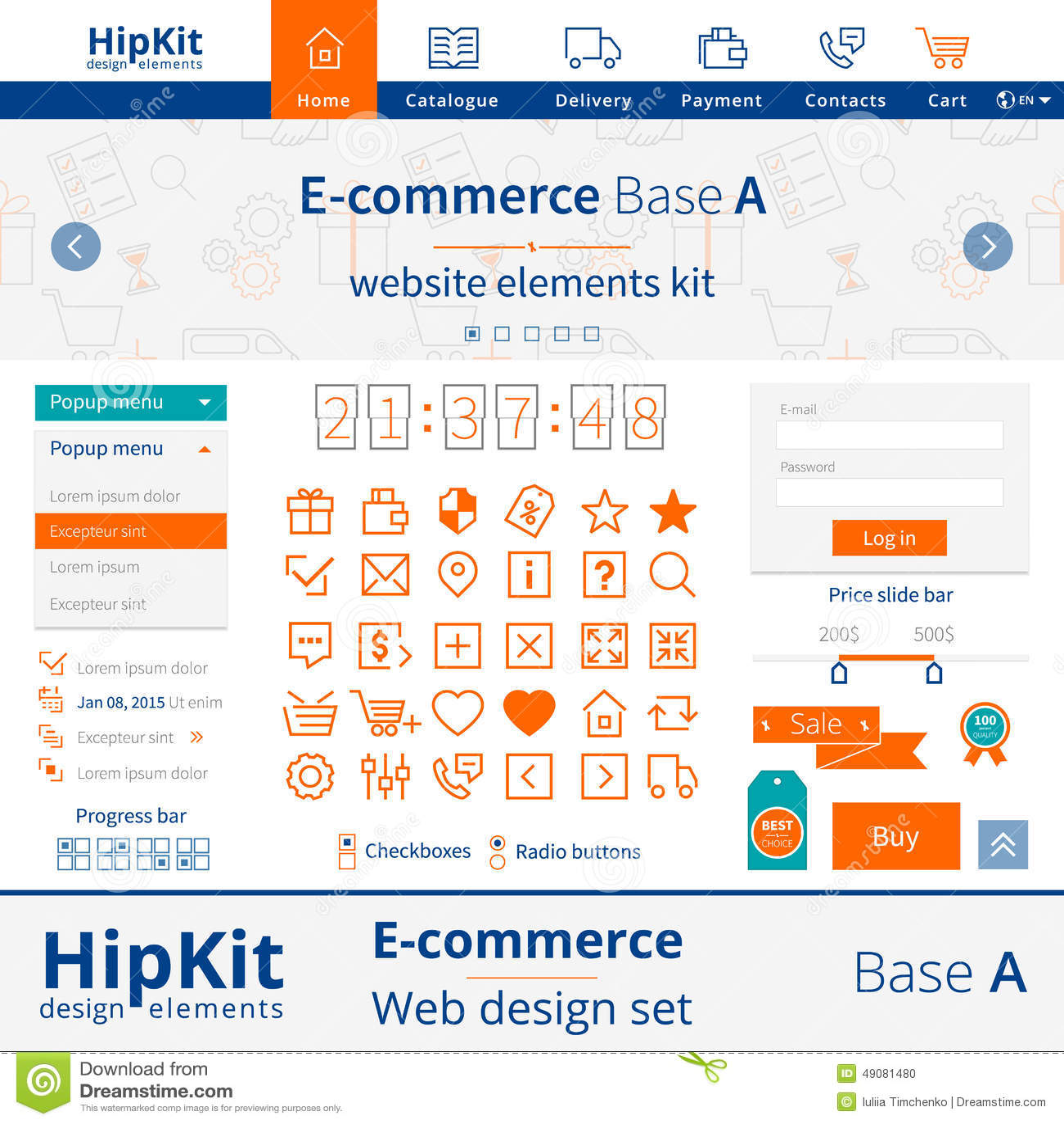 E Commerce Web Design Elements Stock Vector Illustration Of Menu Landing 49081480