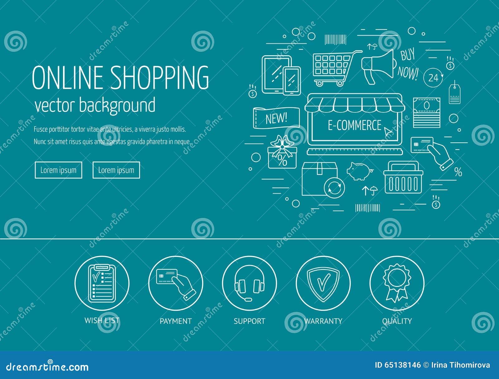 E-Commerce-Webdesignkonzept Zeichnen Sie Ikonen Für Website ...