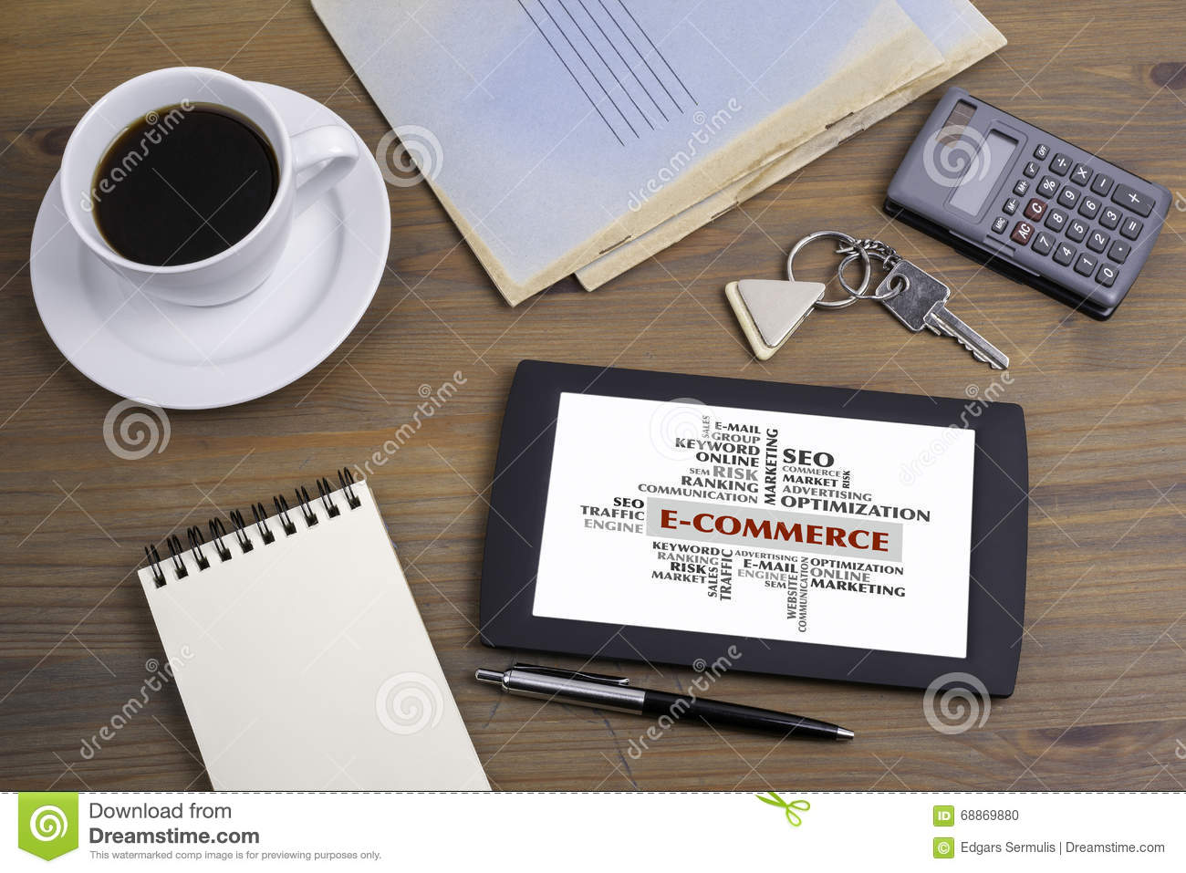 E-Commerce word cloud, business concept. Text on tablet device o