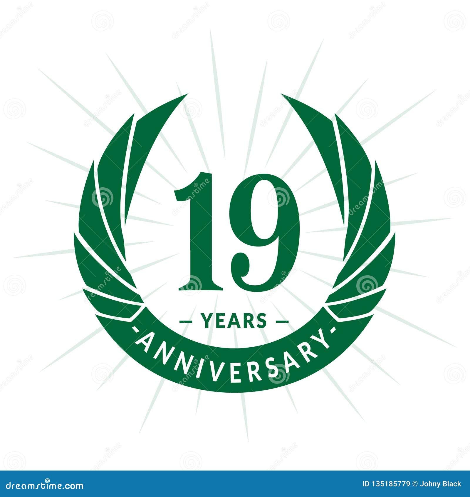 E Conception élégante de logo d anniversaire Dix-neuf ans de logo