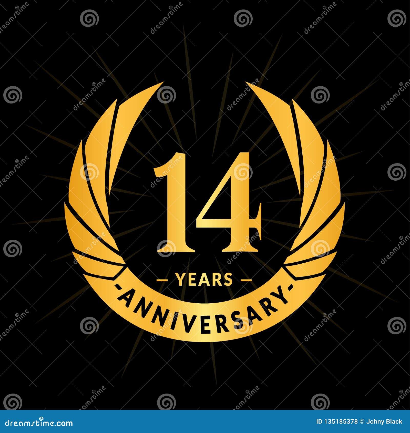 E Conception élégante de logo d anniversaire Quatorze ans de logo
