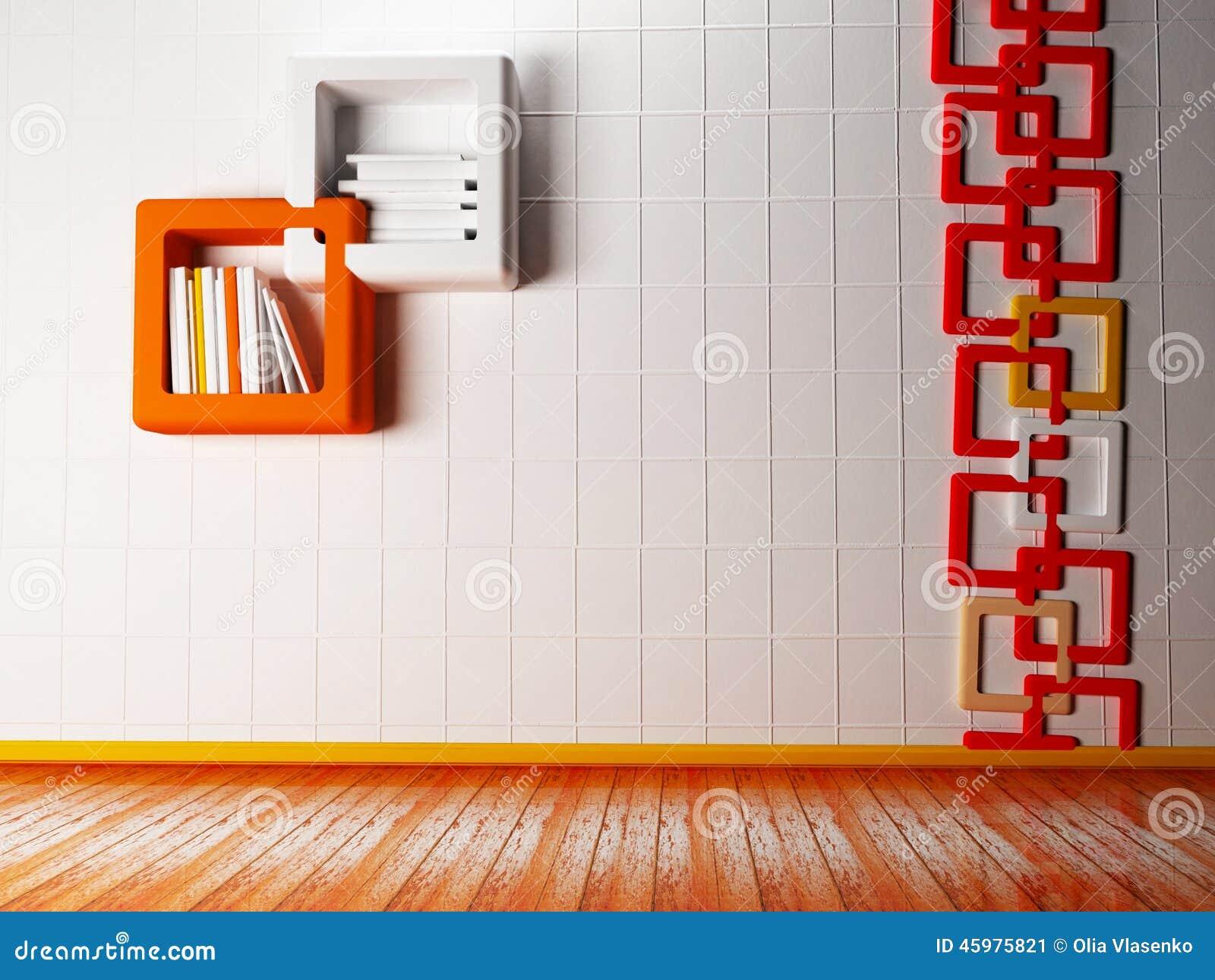 E Creatief Boekenrek Op De Muur Stock Illustratie Illustratie