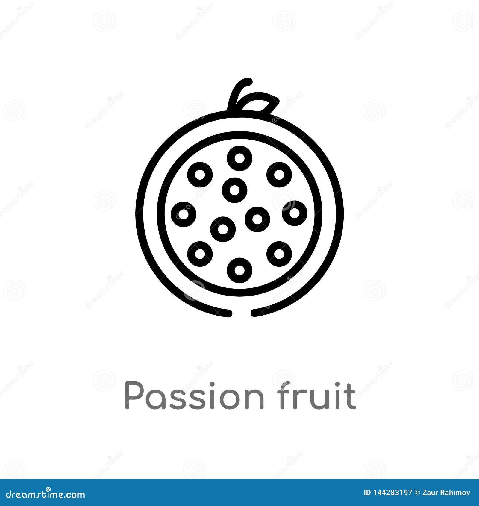 E de ge?soleerde zwarte eenvoudige illustratie van het lijnelement van vruchten concept Editable vectorslag