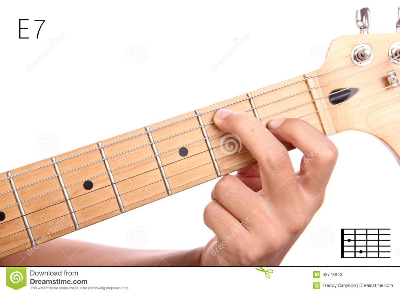 E Dominant Seventh Guitar Chord Tutorial Stock Image Image Of Hand