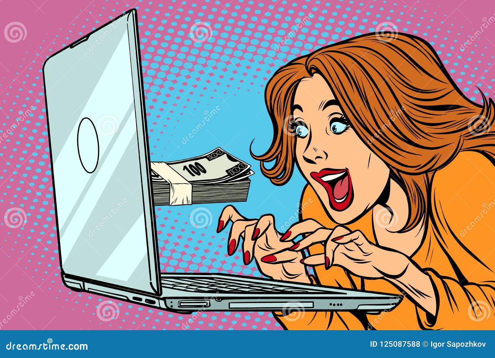 E-Einkommenkonzept Frau am Computer Freiberufliche Tätigkeit