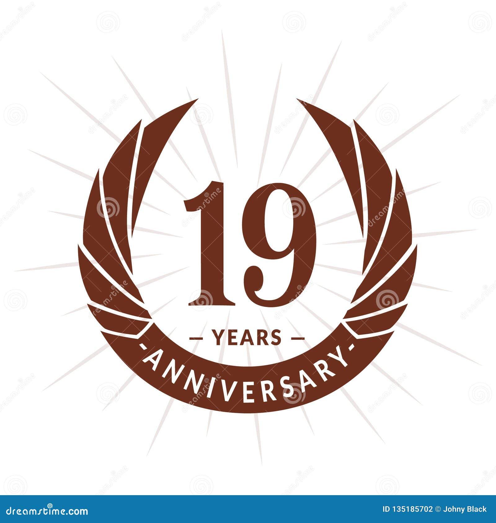 E Eleganter Jahrestagslogoentwurf Neunzehn Jahre Logo