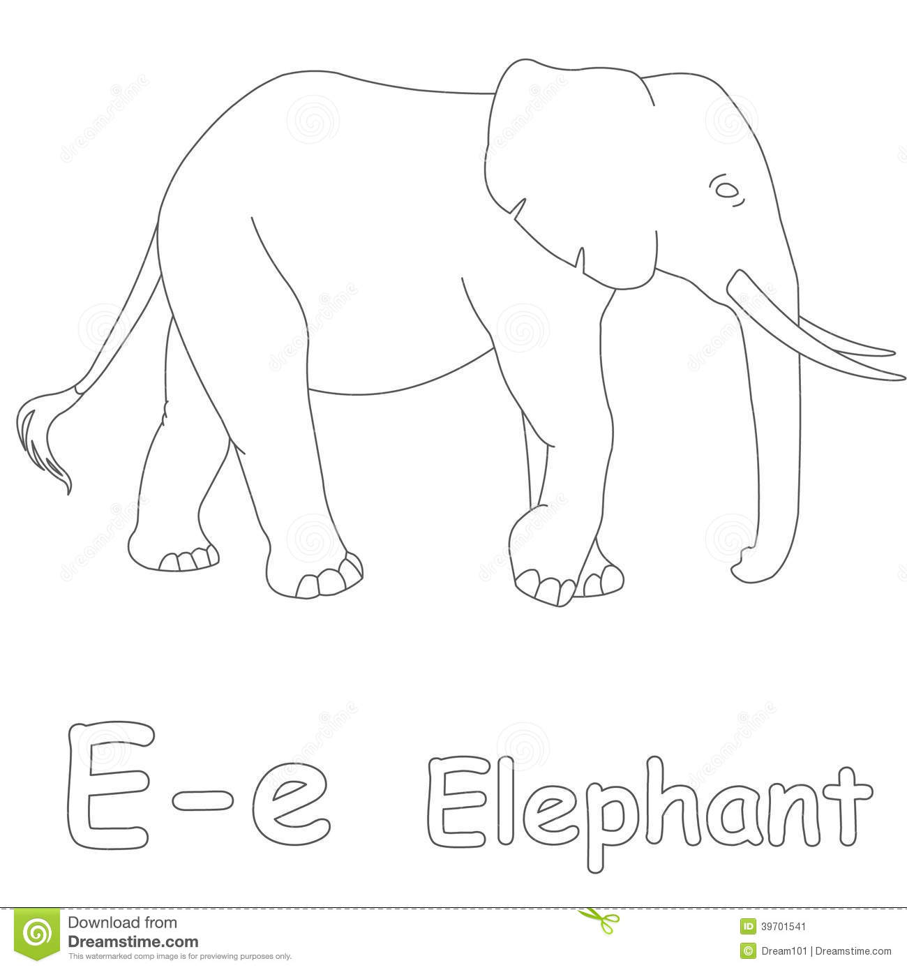 Download E For Elephant Coloring Page Stock Illustration