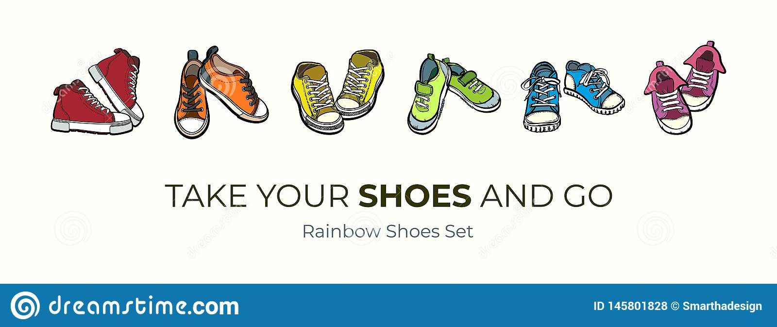 E Ensemble tiré par la main d illustration de vecteur de chaussures colorées Bottes de sport tir?es par la main pour le logo, aff