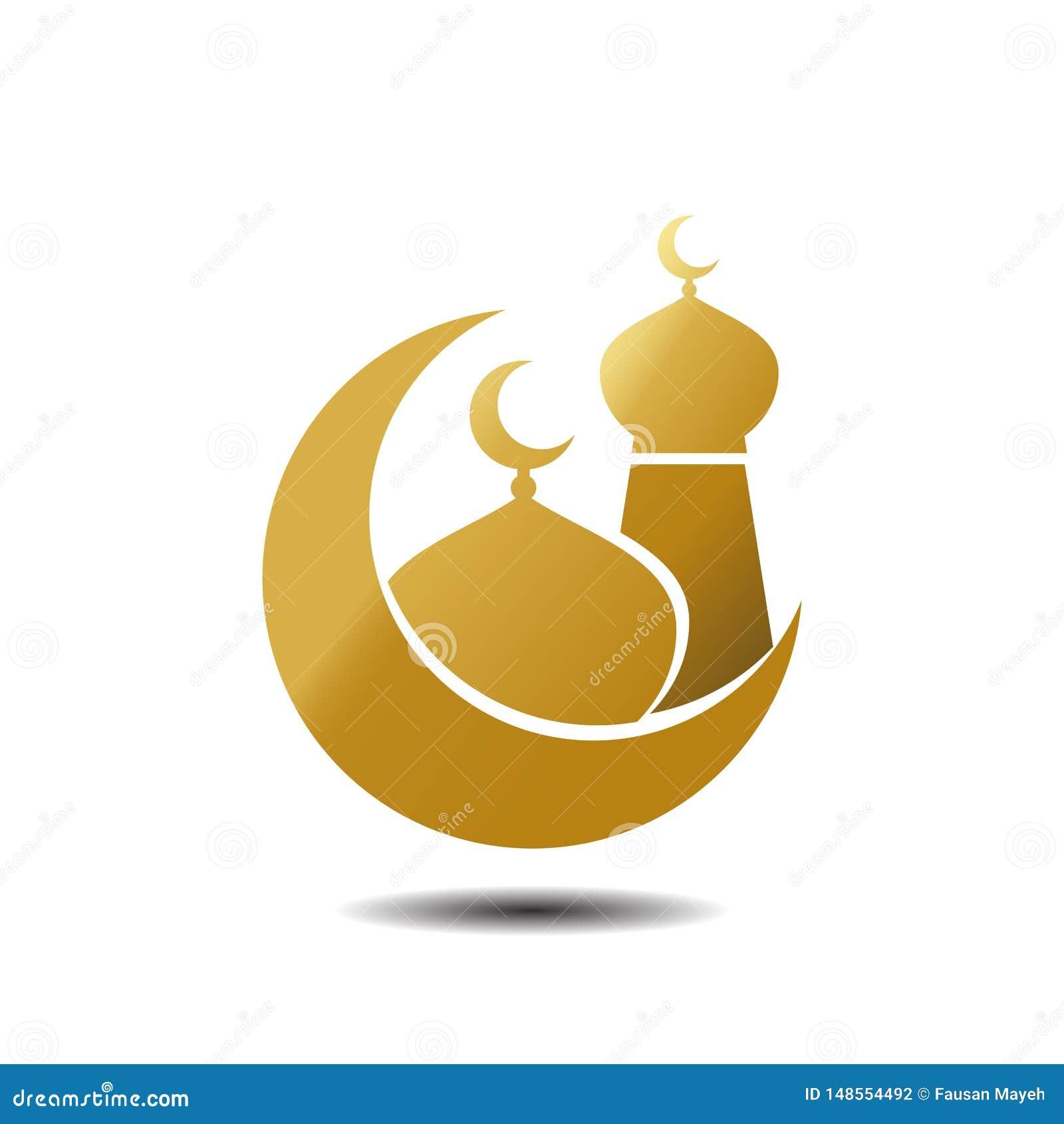 E F?r symbolsvektor f?r modern mosk? muslimsk guld p? vit bakgrund