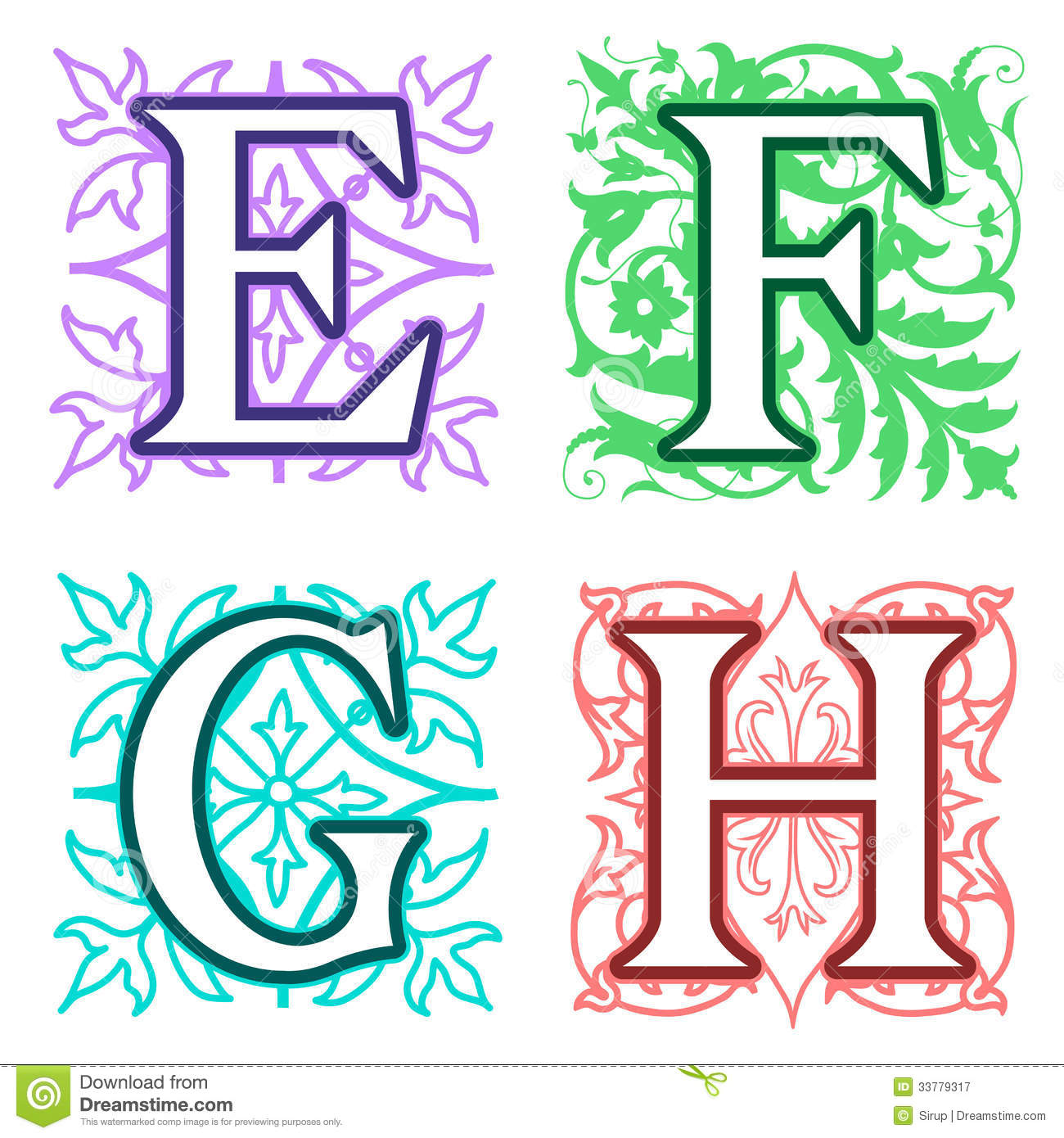 E F G H Alphabet Letters Floral Elements Royalty Free