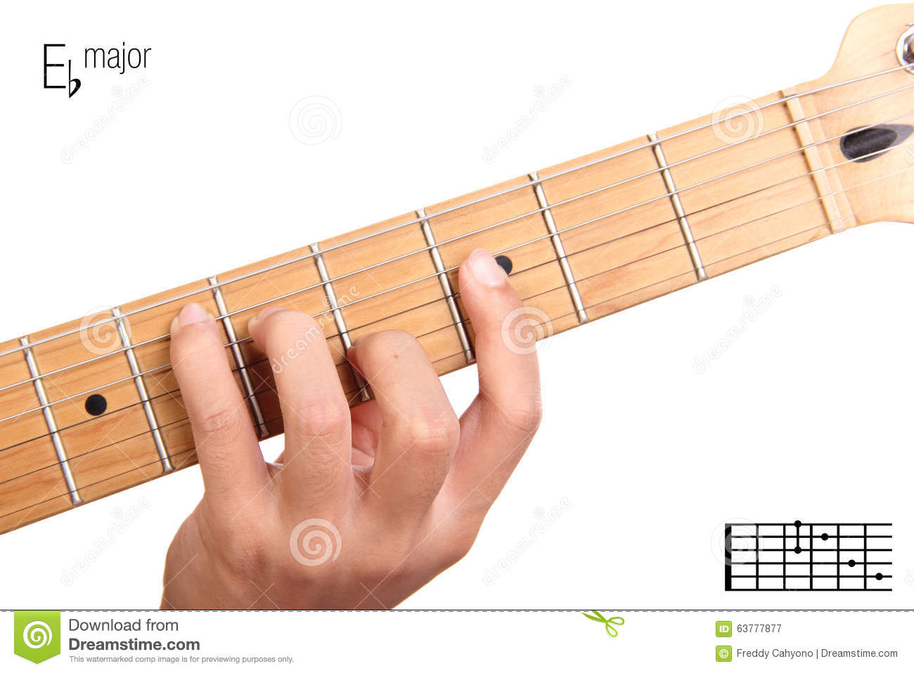 E Flat Major Guitar Chord Tutorial Stock Image Image Of Neck