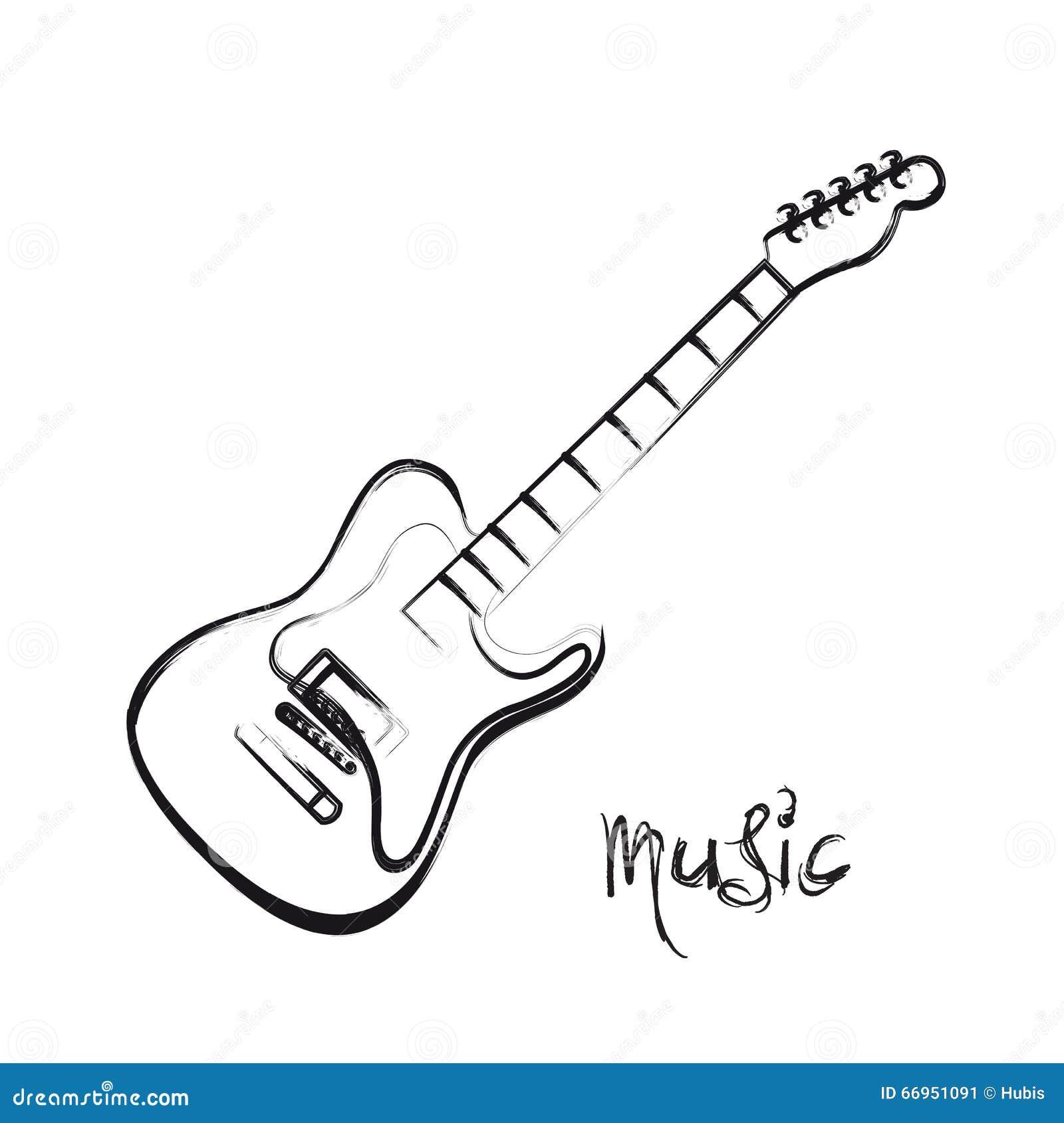 e gitarren hand gezeichnet vektor abbildung illustration von ausr stung 66951091. Black Bedroom Furniture Sets. Home Design Ideas