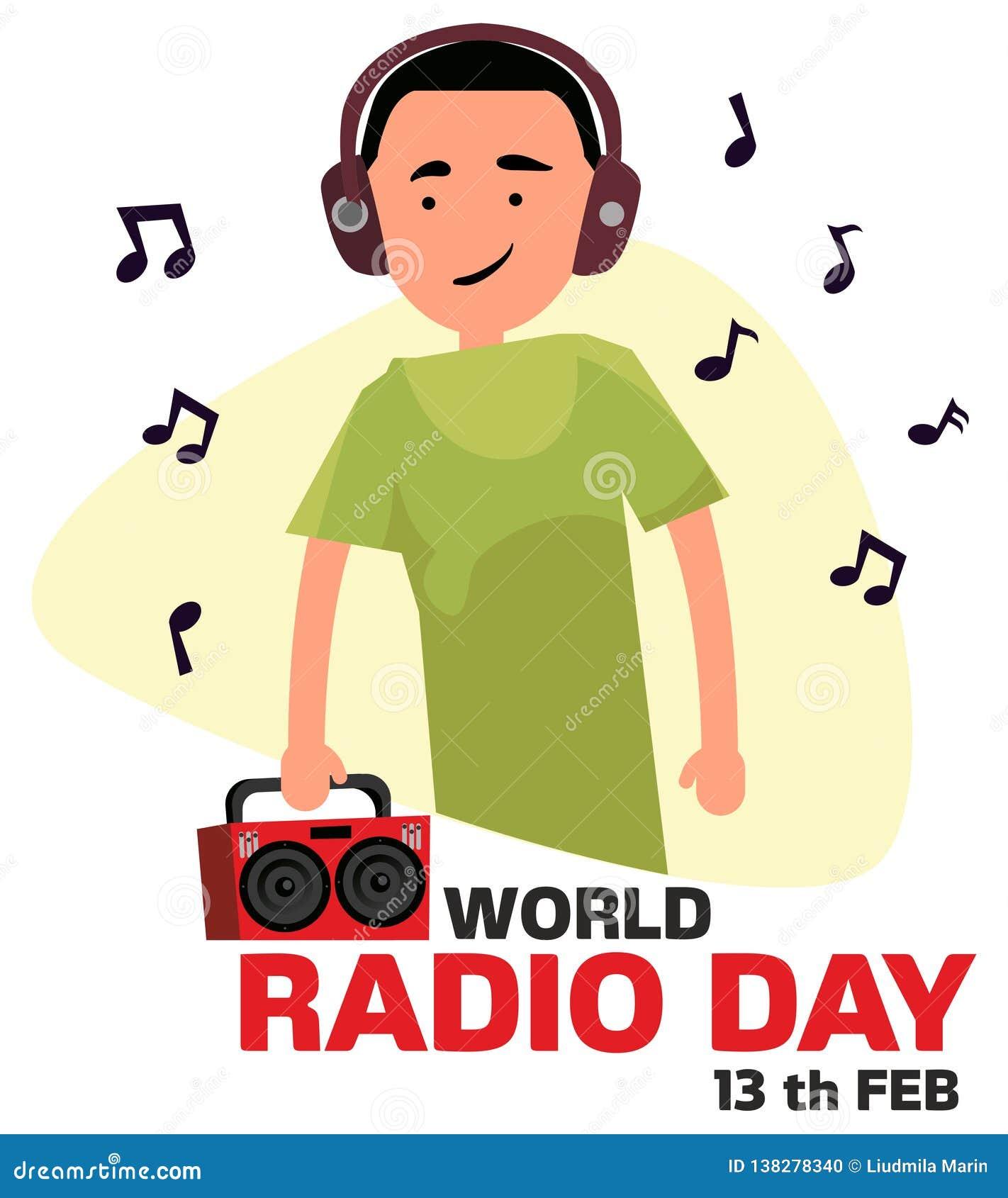 E Grabben lyssnar till radion i hörlurarvektorillustration