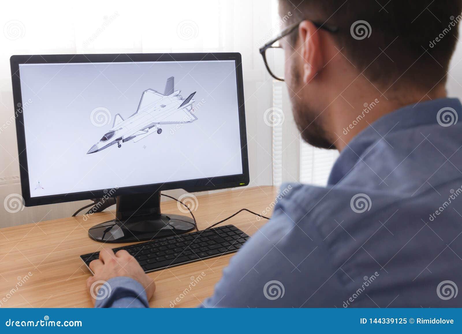 E Han är att skapa som planlägger en ny modell 3D av flygplan,
