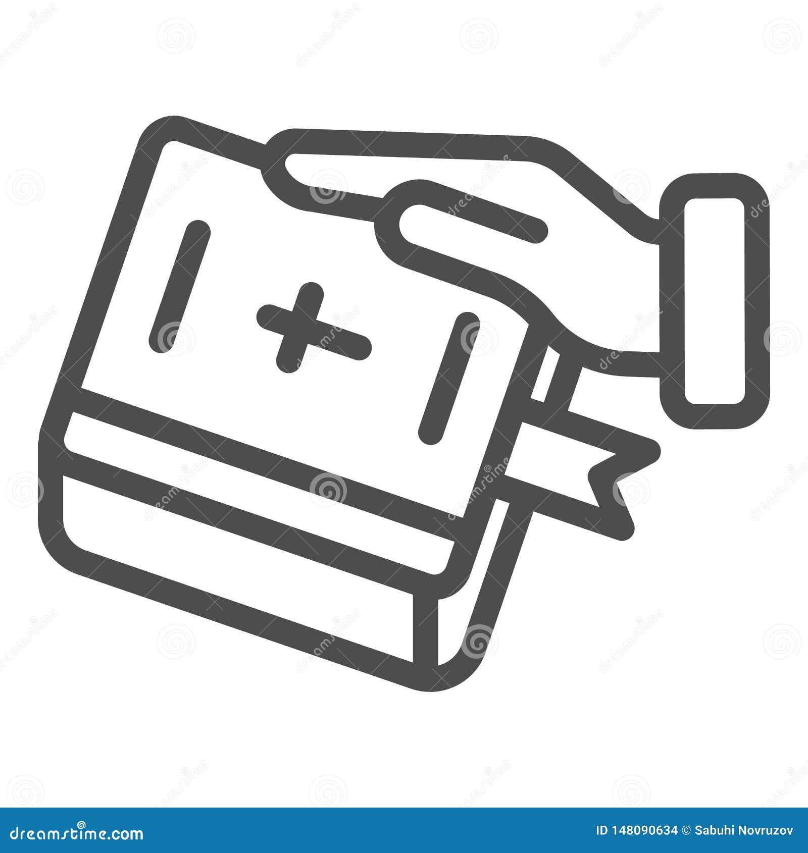 E Hand p? bokvektorillustrationen som isoleras p? vit r