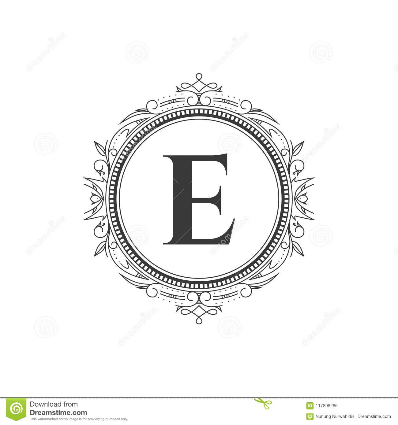E Initial Monogram Letter Logo Template With Luxury Ornament