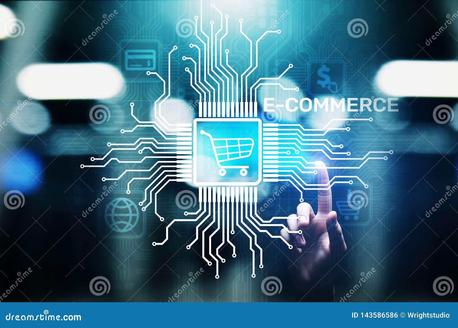 E-kommers affärsonline-digital internet som shoppar begrepp på den faktiska skärmen