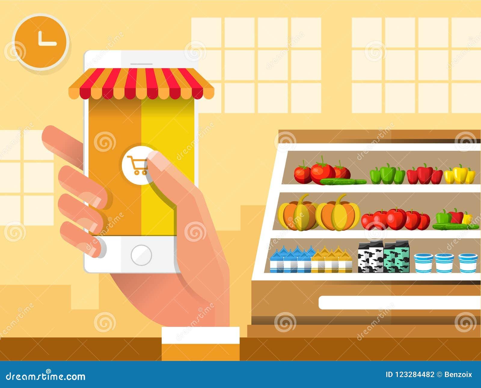 E-kommers elektronisk affär, online-shopping, betalning, leverans, sändningsprocess, försäljningar i livsmedelsbutik
