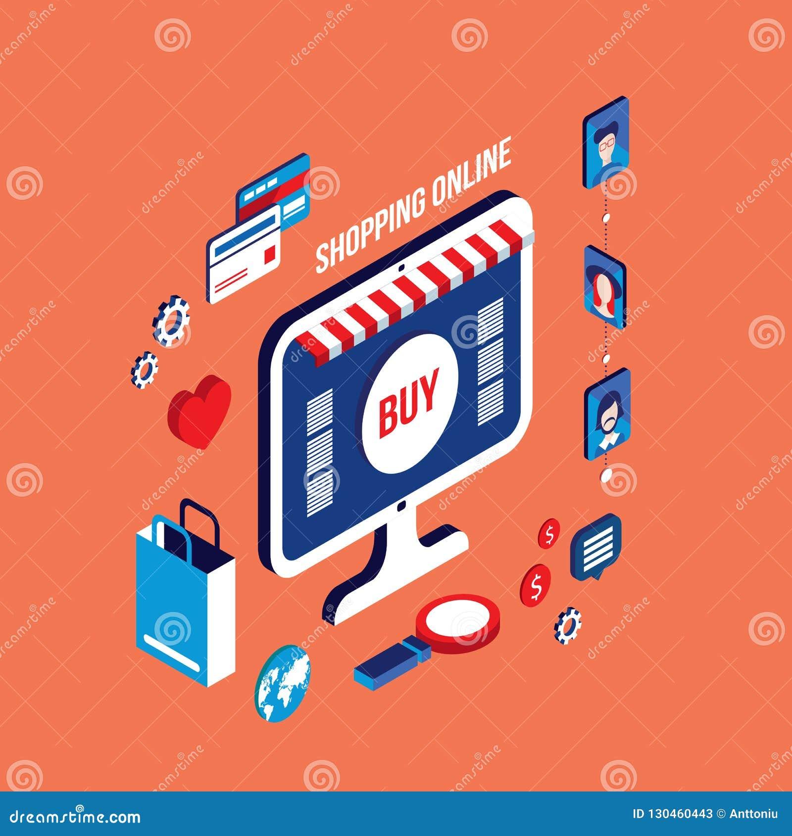E-kommers för affär för plan isometrisk shopping för design 3d online-lyckat begrepp