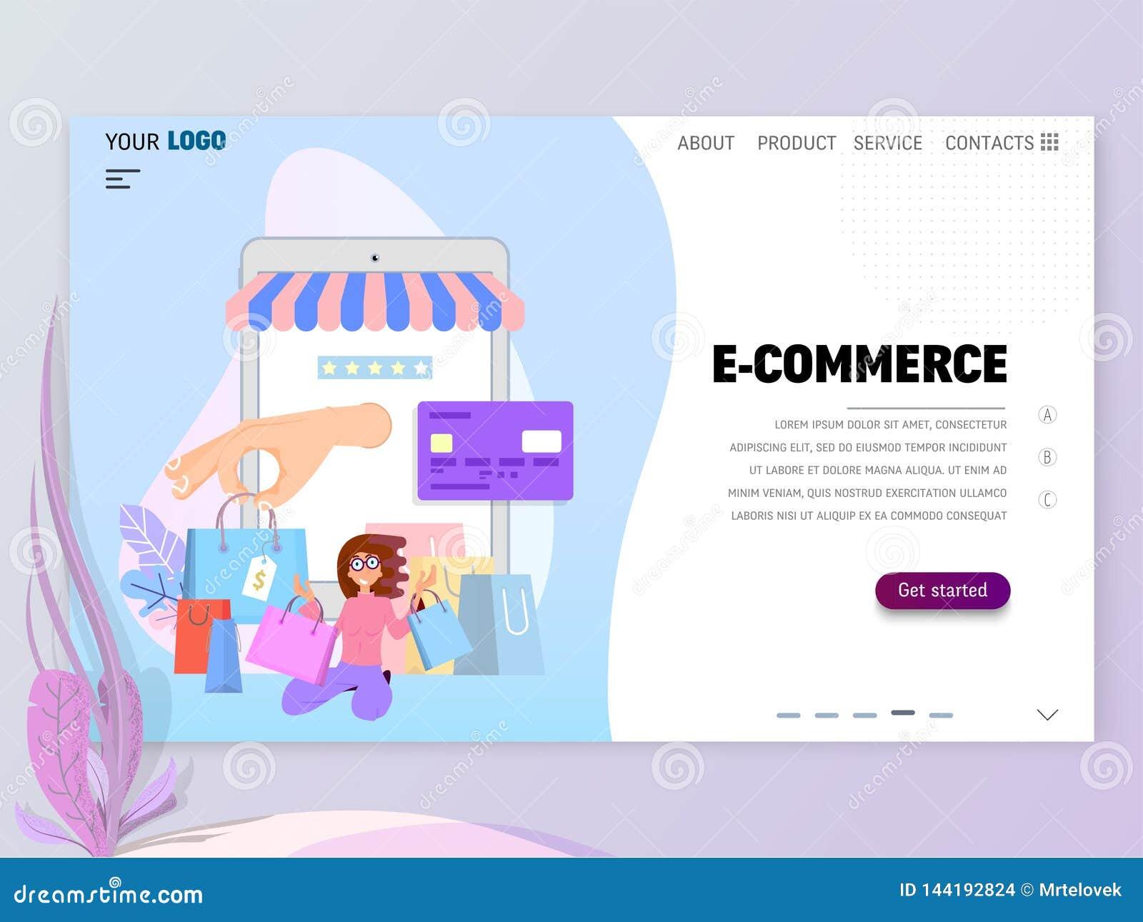 E-kommers homepage-mall för website eller landningsida