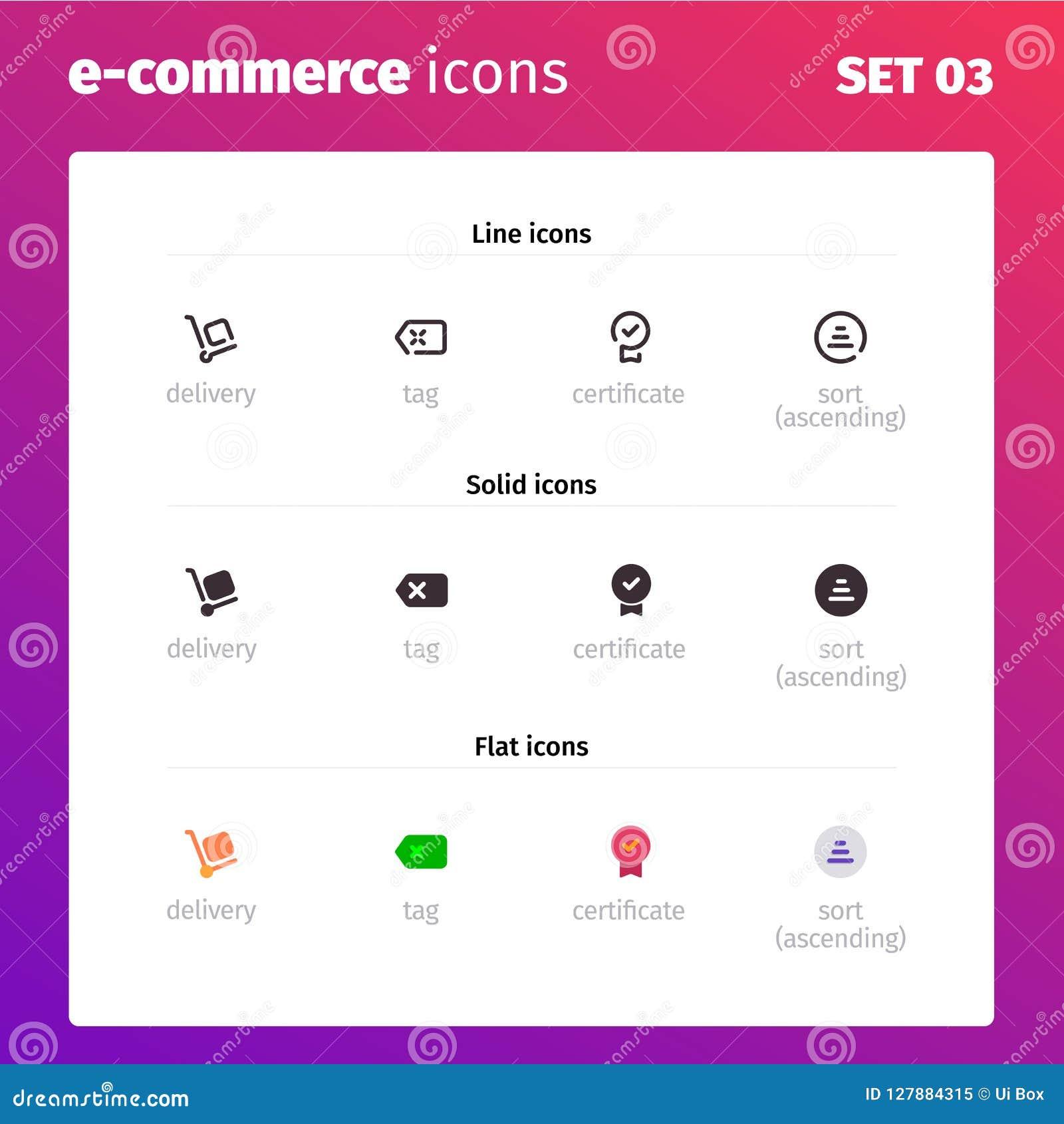 E-kommers och online-lagersymboler
