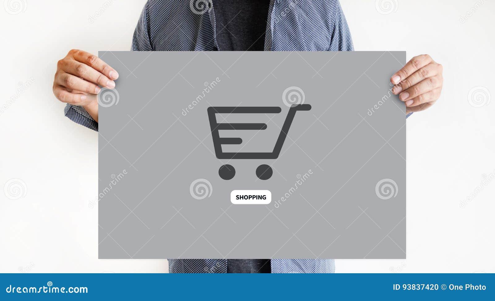 E-komrets tillfogar till vagnen som online-beställningslagerköpet shoppar online-betalning