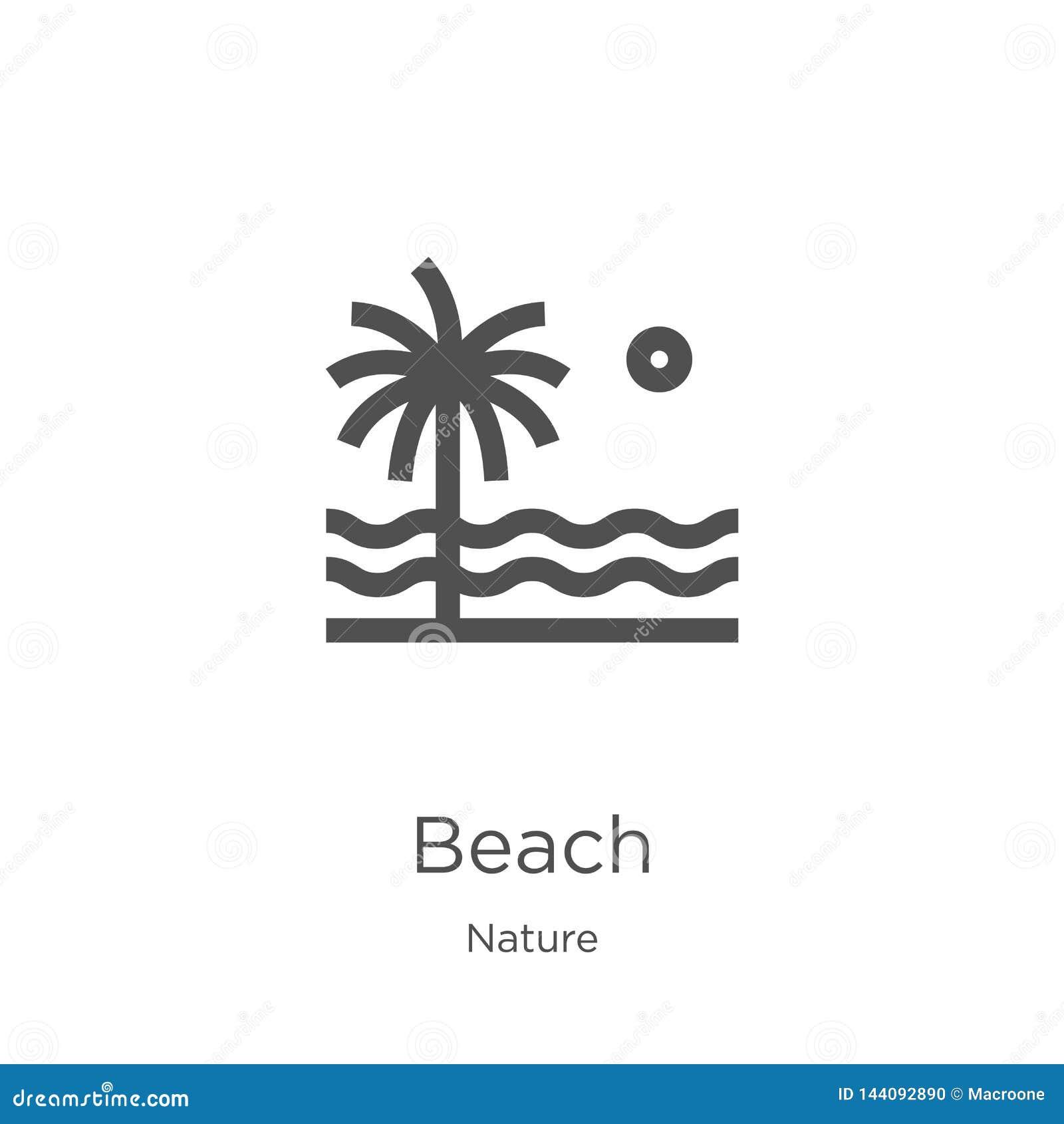 E Línea fina ejemplo del vector del icono del esquema de la playa r