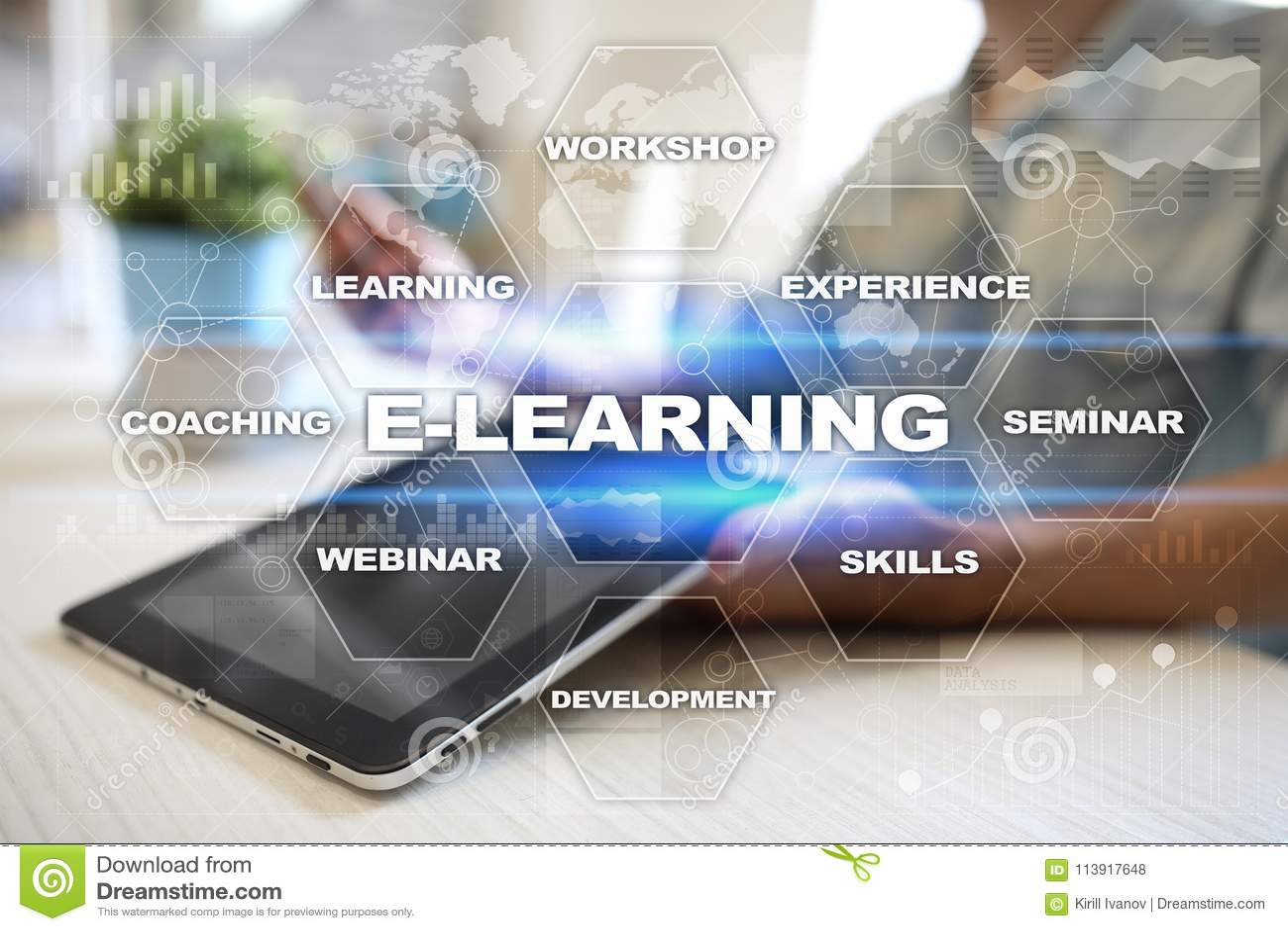 E-Learning auf dem virtuellen Schirm Tastatur mit Wort erlernen