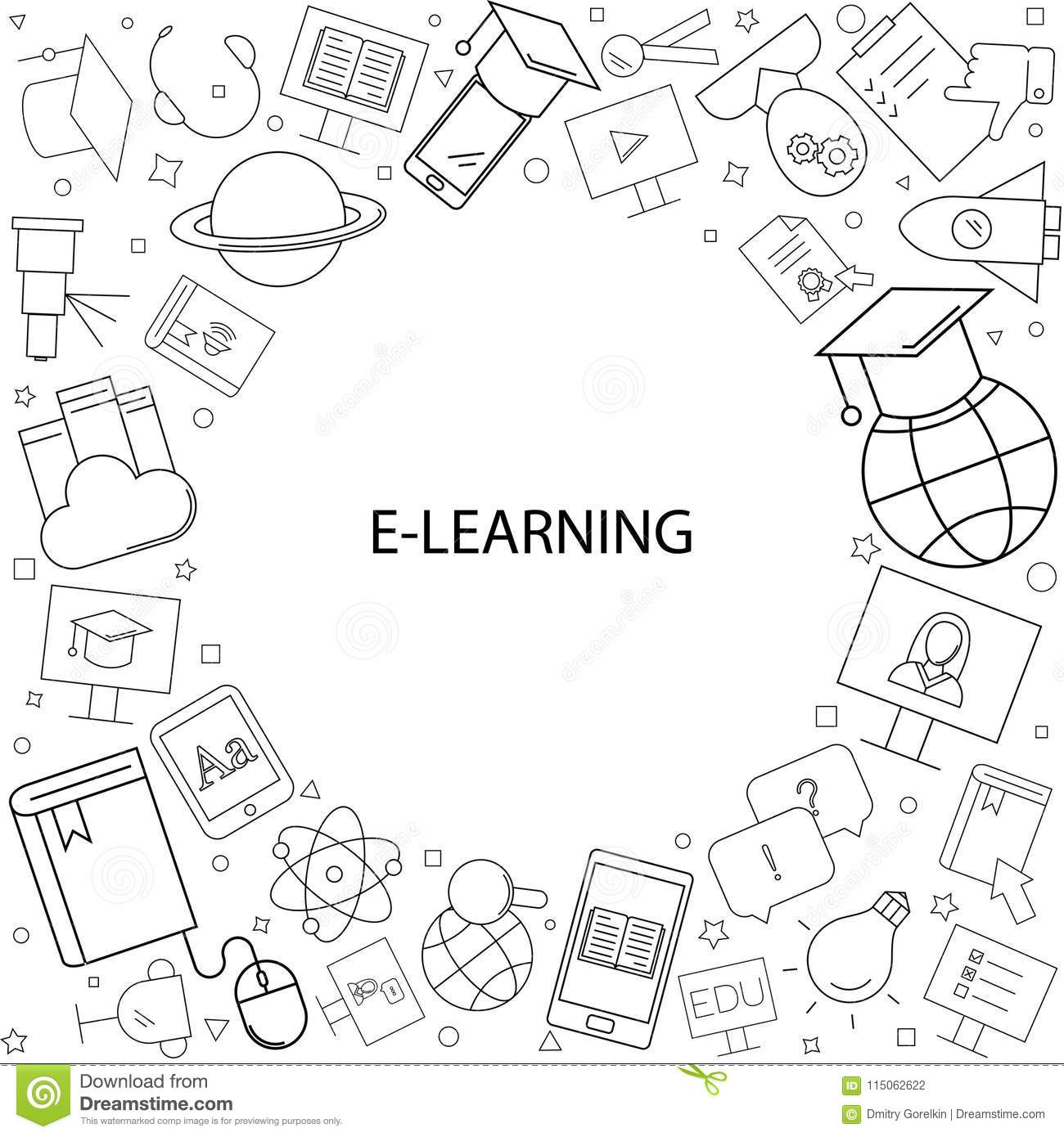E Learning Background From Line Icon Stock Vector Illustration Of Education Wallpaper 115062622