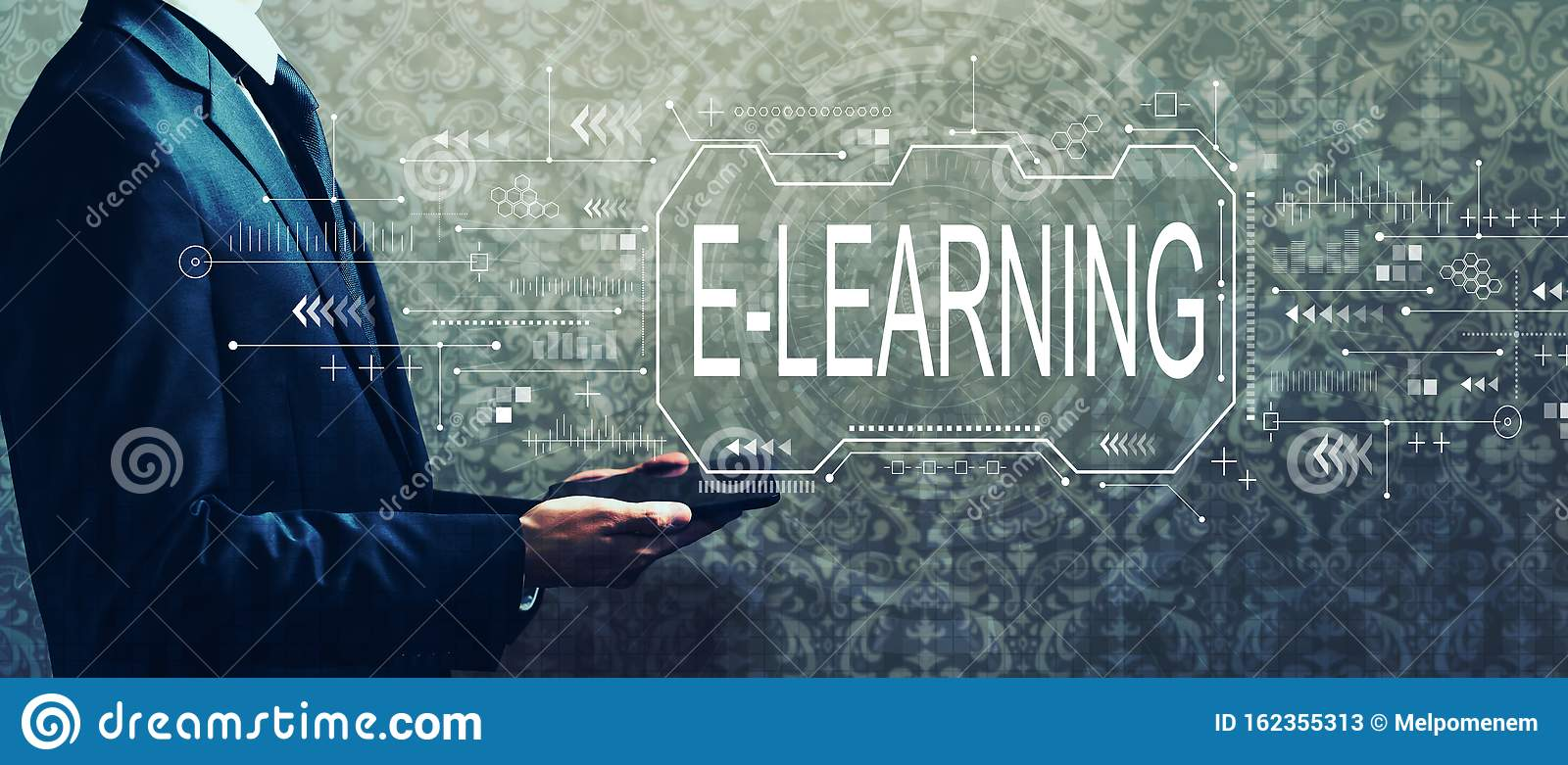 E-learning concept with businessman holding a tablet