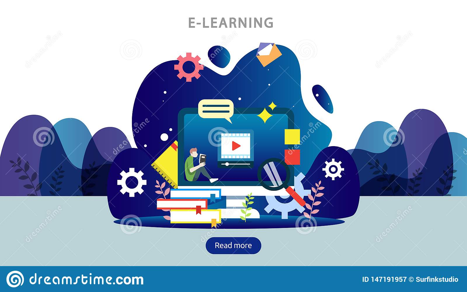 E-learning concept with computer, book and tiny people character in study process. E-book or online education. template for web