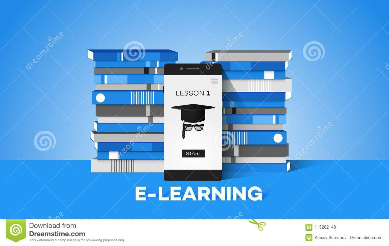 E-learning Conceptual Vector Illustration With Smartphone And Teacher On The Screen Stack Of Books On Light Blue