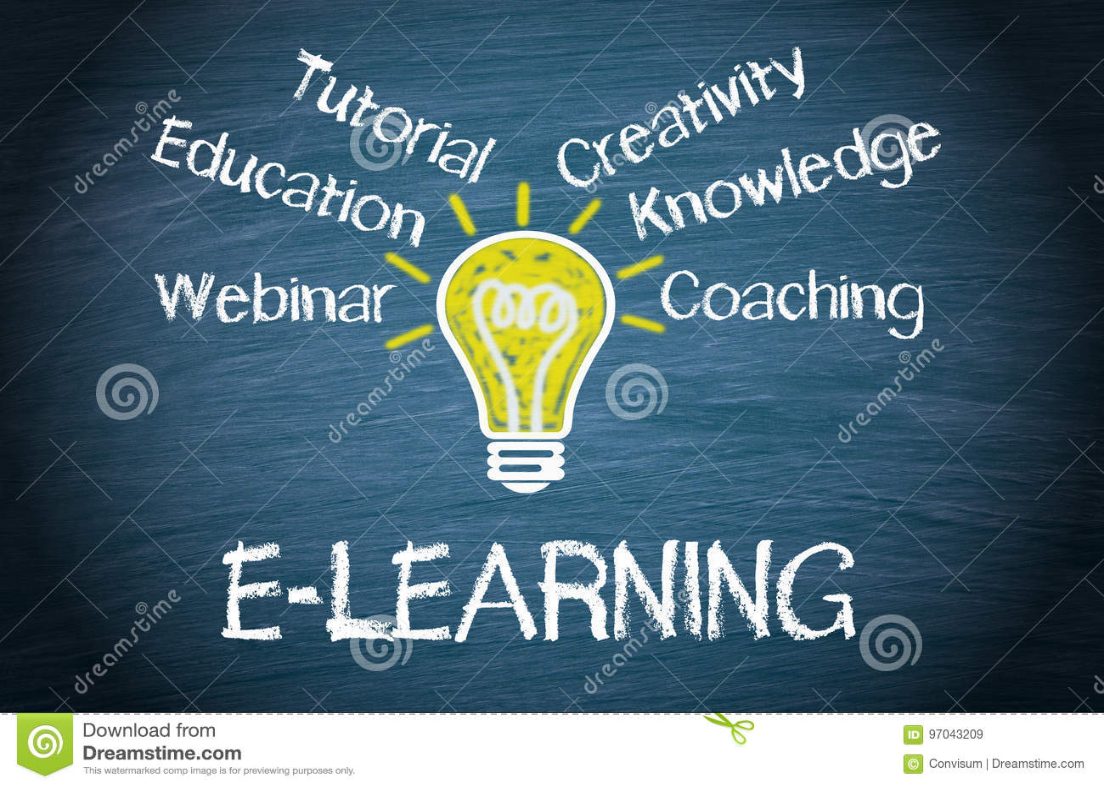 E-learning - concetto di istruzione della lampadina con testo