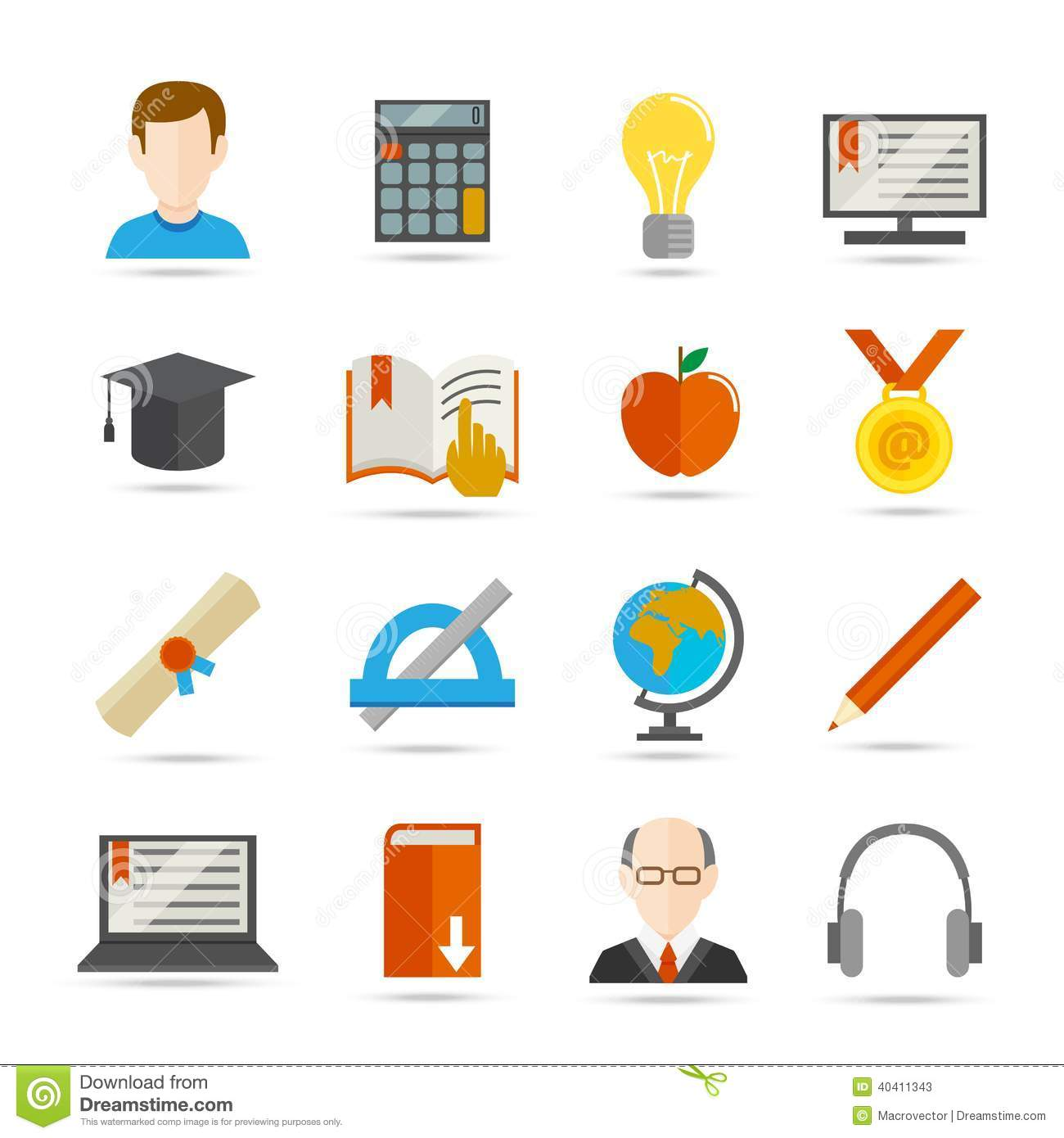 E-learning Flat Icon Stock Vector - Image: 40411343