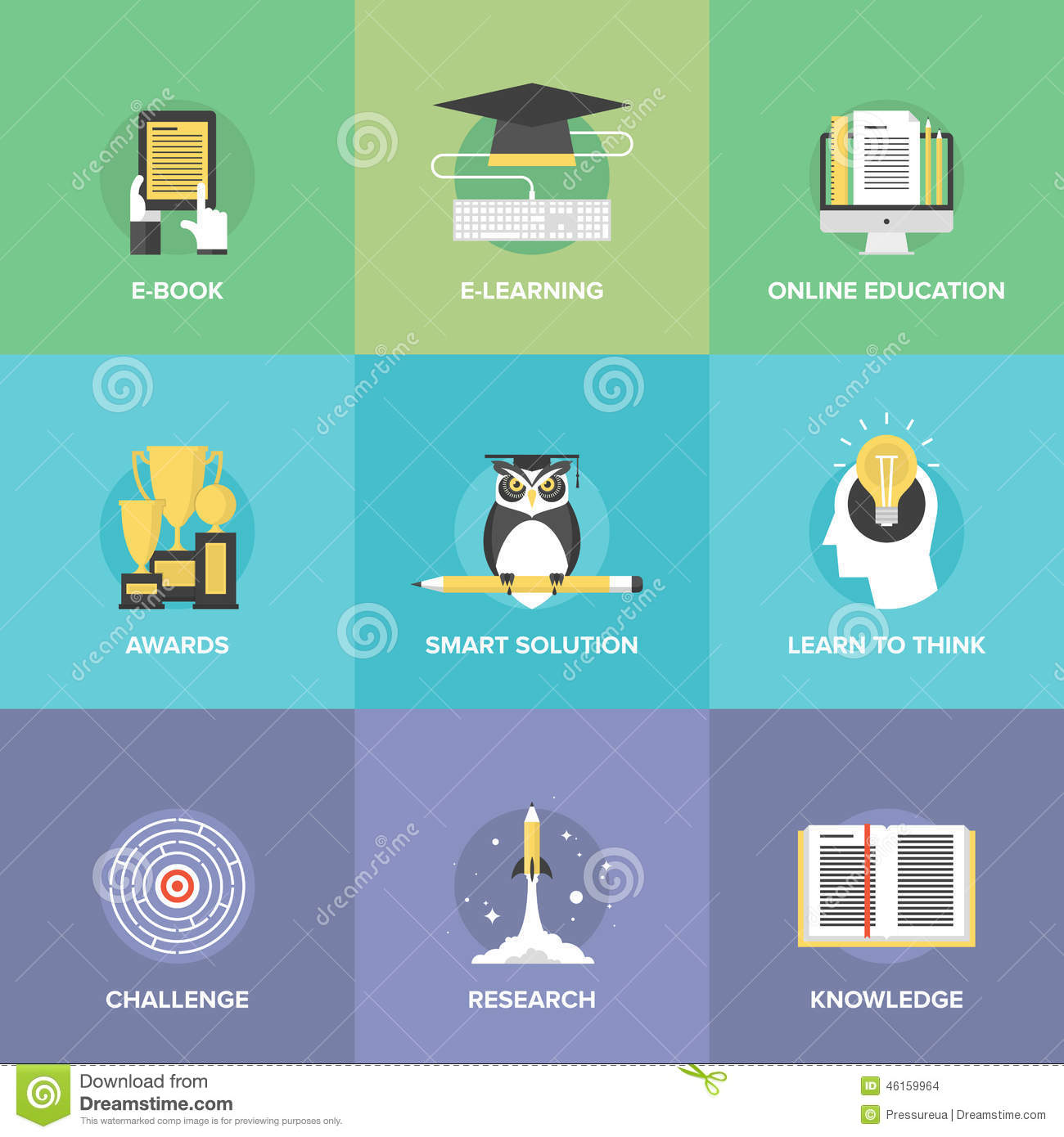 E-learning flat icons set stock vector. Image of challenge ...