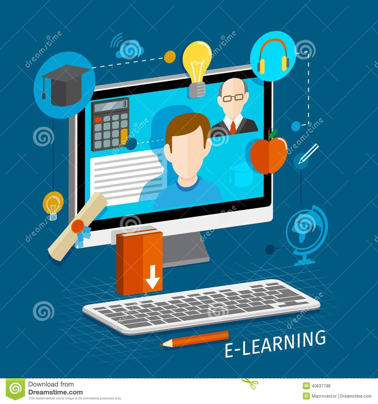 Education school university e-learning flat poster with monitor and ...