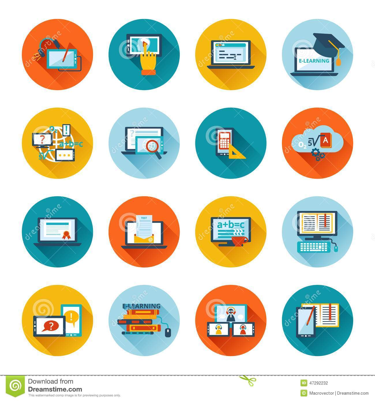 E Learning Icon Flat Stock Vector Illustration Of Media