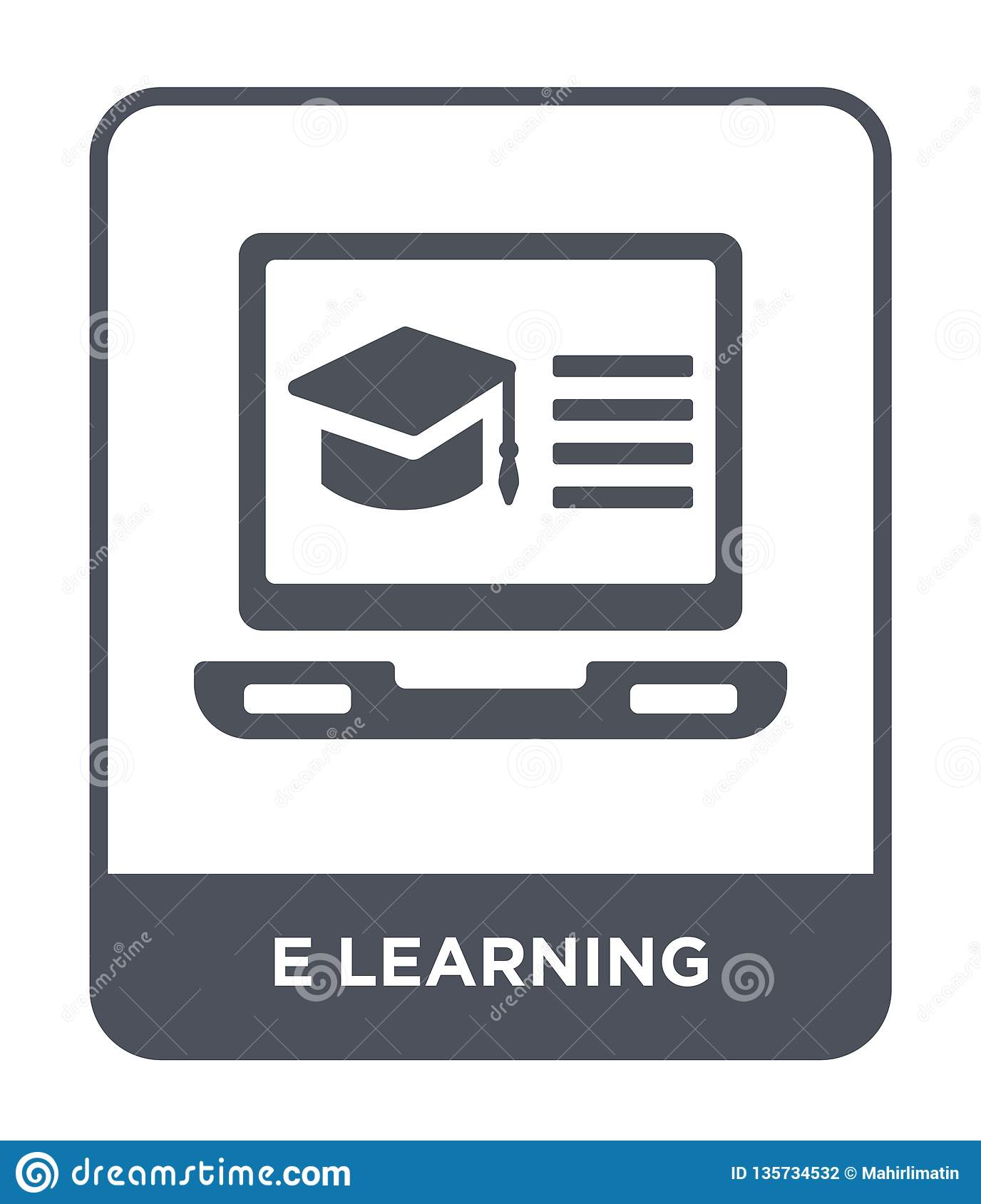 e learning icon in trendy design style. e learning icon isolated on white background. e learning vector icon simple and modern