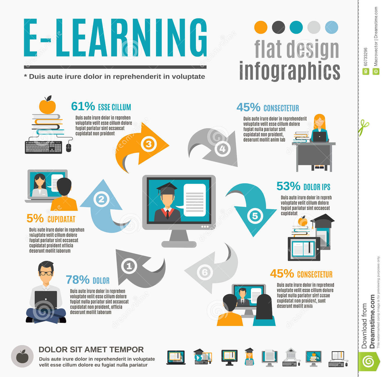 E Learning Infographics Set Stock Vector Illustration Of