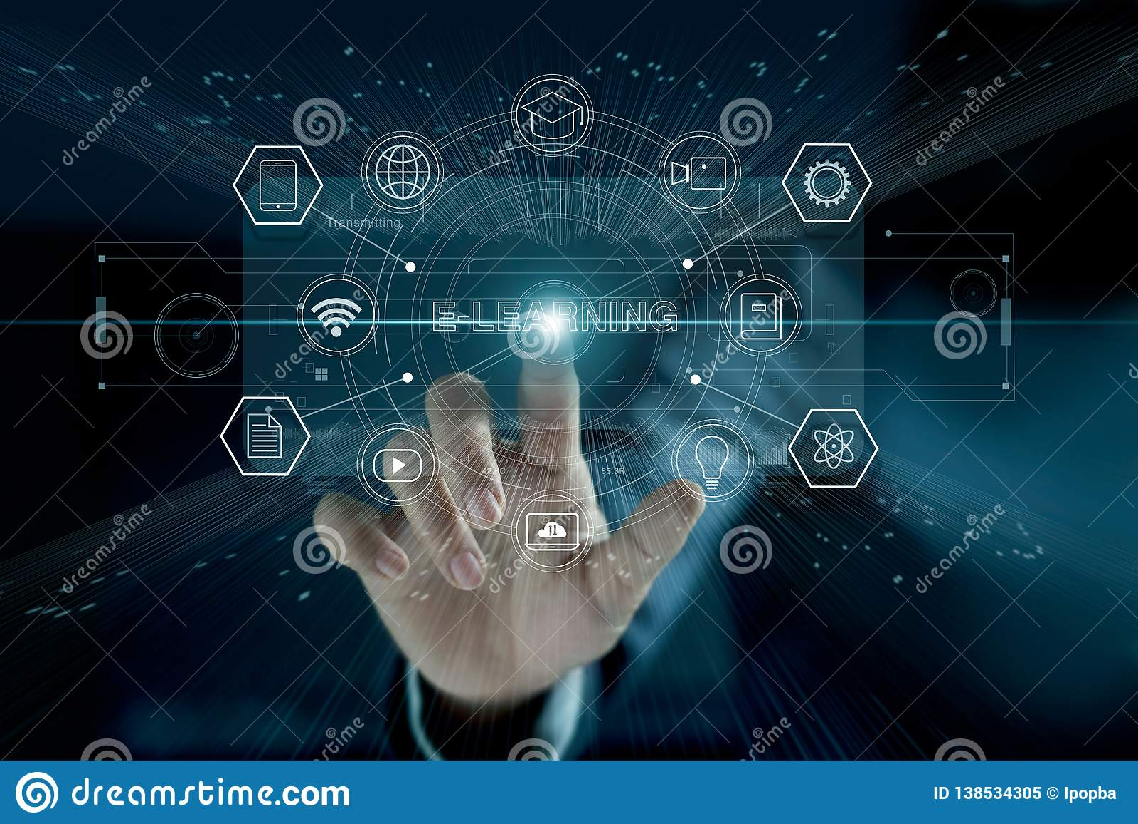 E-lerend Concept Zakenman wat betreft moderne virtuele interface
