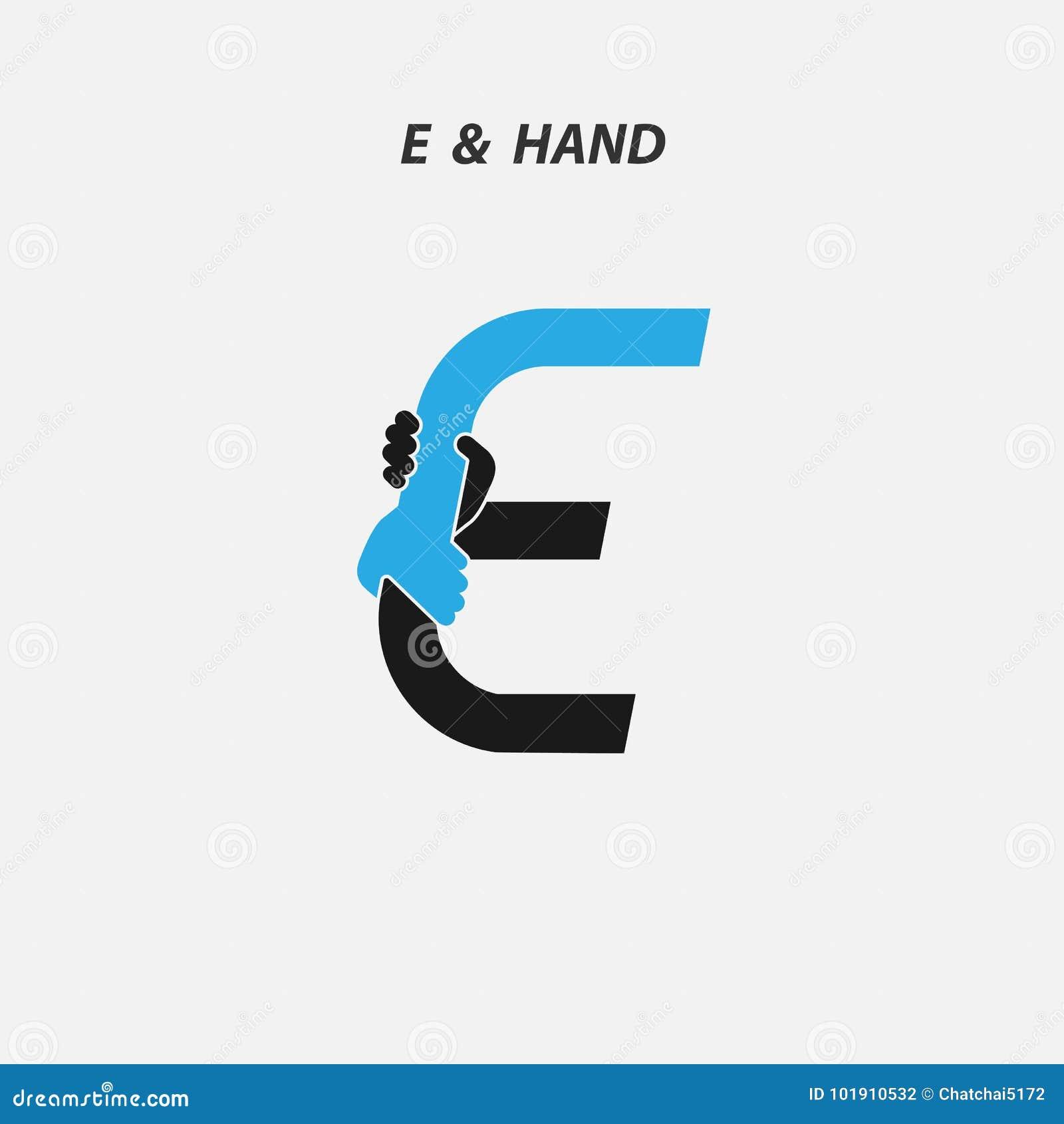 e letter abstract icon hands logo design vector template stock