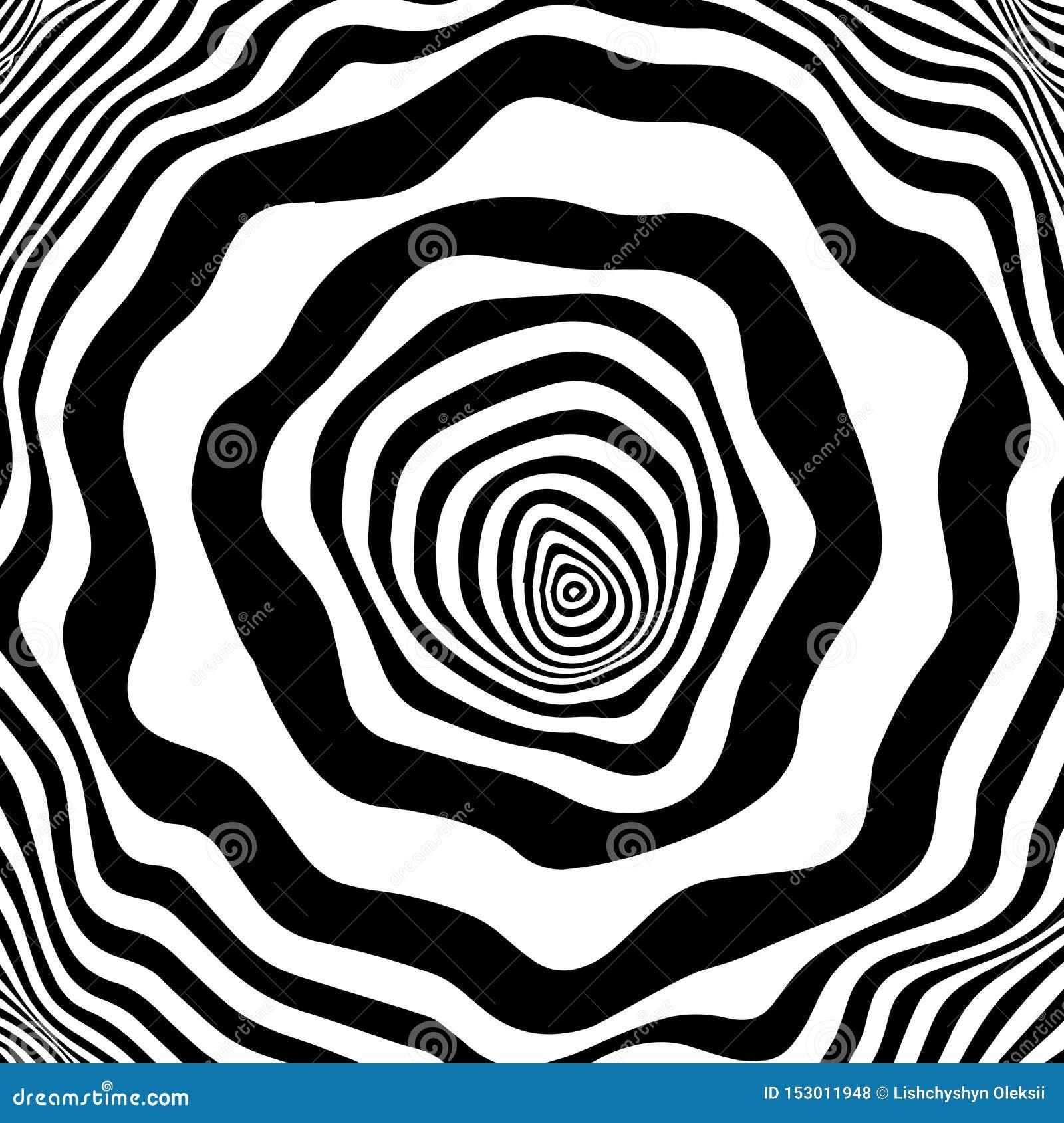 E Lignes illusion de mouvement Lignes noires et blanches de courbe de whith abstrait de vague Illusion optique de vecteur