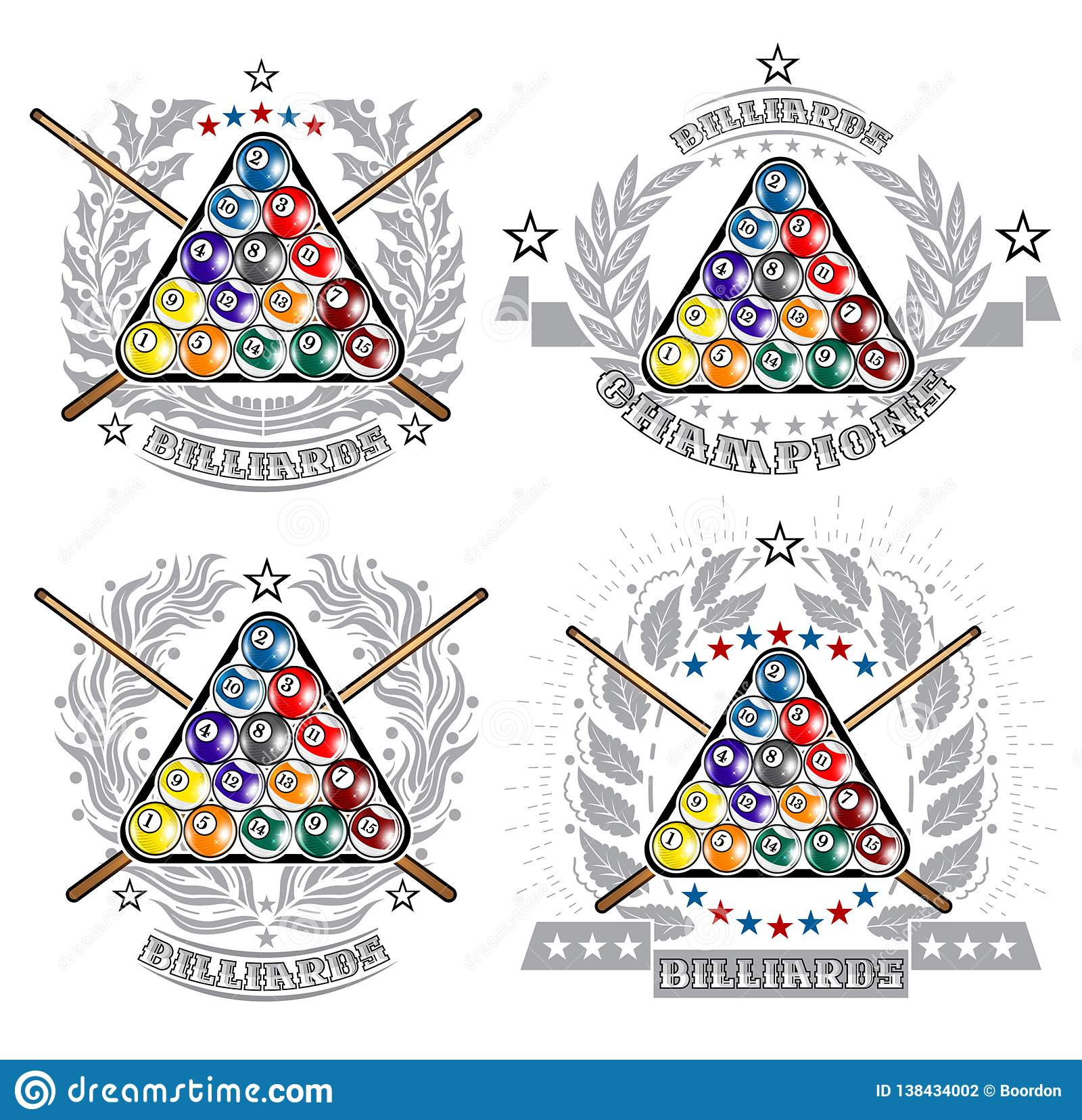 E Logo di sport per qualsiasi gioco del biliardo