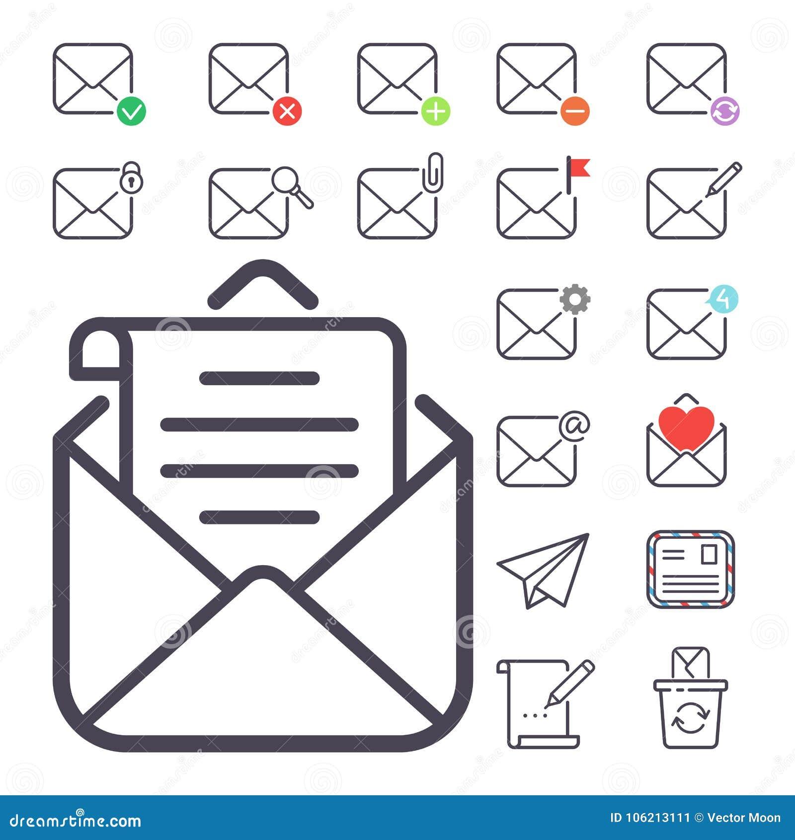 E-Mail-Buchstabevektorikonen stellten Leeradresseentwurfsbriefkasten-Designpapier der Umschlagabdeckungskommunikationskorresponde