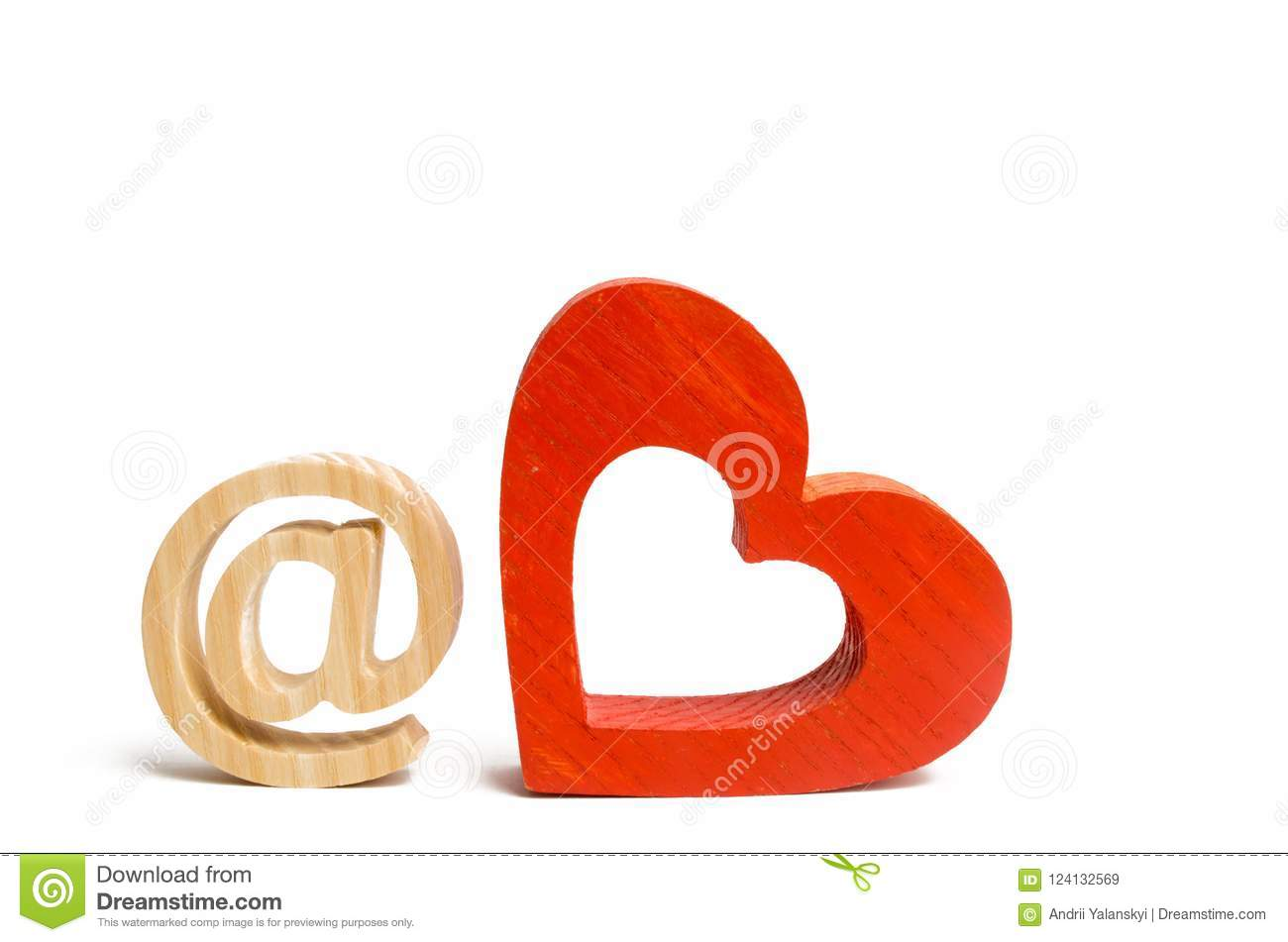 An e-mail icon on a white background and a red heart. love correspondence, communication on the Internet. Contacts for dating. Est