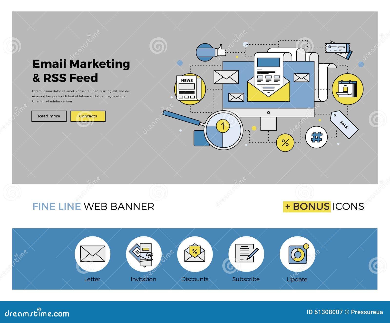e mail marketing flat line banner stock vector image 61308007. Black Bedroom Furniture Sets. Home Design Ideas